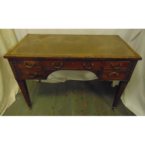 2 - A Victorian rectangular leather top mahogany writing desk with five drawers, brass swing handles on ...