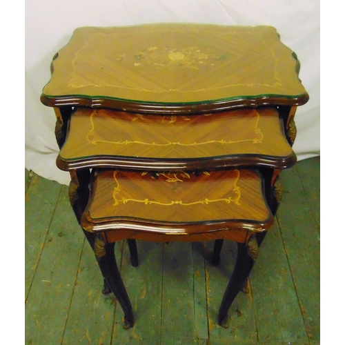 23 - A nest of three shaped rectangular Kingswood tables with floral satinwood inlays to the tops, 59 x 6...