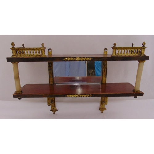 27 - A continental wall shelf of rectangular form with marble and gilded wooden detail, 28 x 40cm...