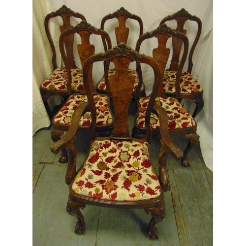 29 - A set of six early 20th century mahogany and burr walnut dining chairs with upholstered seats and ba...