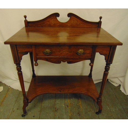 4 - An Edwardian rectangular mahogany hall table with swan neck pediment on four turned supports with or...