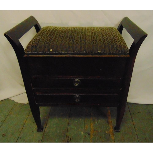 40 - A rectangular mahogany upholstered piano stool with two sheet music drawers and hinged seat, 57.5 x ...