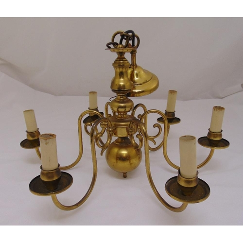 42 - A brass six branch chandelier in 17th century style, 37 x 54cm...