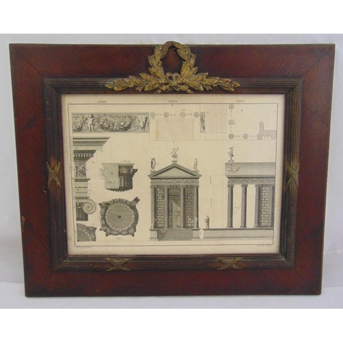 49 - A 19th century monochromatic French architectural print in wooden frame with gilt metal mounts in th...