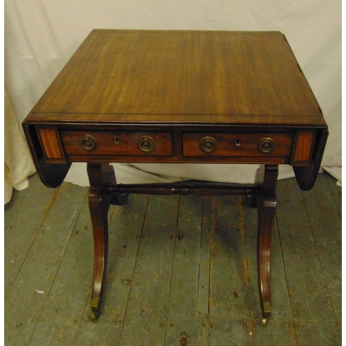 5 - A rectangular mahogany drop flap sofa table with two drawers on cabriole legs, A/F, 73 x 104 x 58.5c...