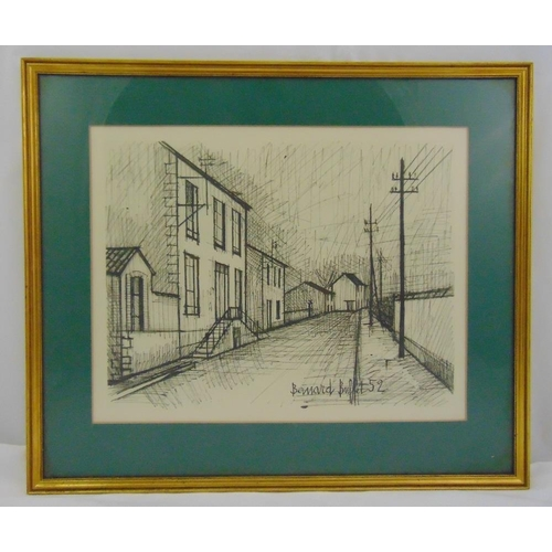 50 - A framed and glazed monochromatic lithographic print of a road and houses, in the style of Bernard B...