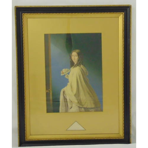 51 - A Victorian framed and glazed hand coloured etching titled The Bridesmaid, 37 x 26cm...