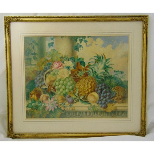 53 - Emma Walter framed and glazed still life watercolour titled Just Gathered, signed and dated 1857 bot...