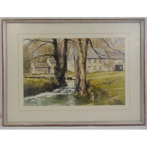 54 - Roy Mason framed and glazed watercolour of a house by a river, signed bottom right, 35 x 53cm...