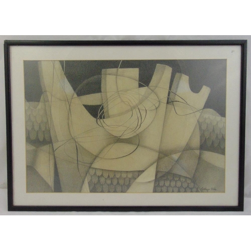 56 - Evelyn Hill framed and glazed monochromatic pencil drawing, signed bottom right, 34 x 51.5cm...