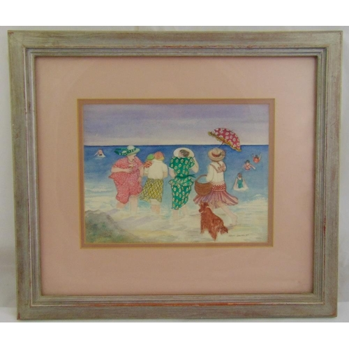 57 - Gillian Lawson framed and glazed watercolour of figures in the sea titled Taking a Dip, signed and d...