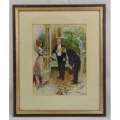 58 - A framed and glazed lithographic print of figures in an interior setting indistinctly signed bottom ...