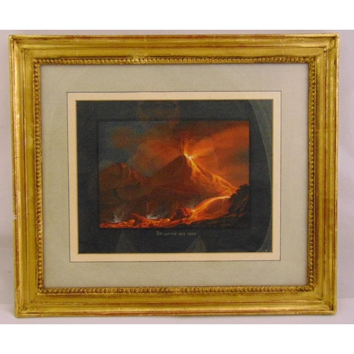 60 - An early 19th century Italian framed and glazed watercolour of Mount Vesuvius erupting, titled Fruzi...