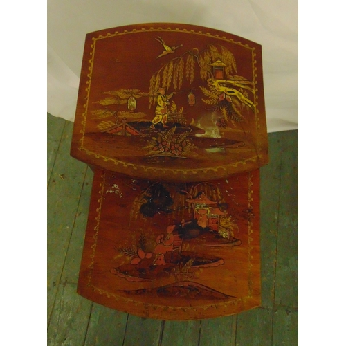 24 - A nest of two fruitwood side tables, the tops painted with Chinoiserie scenes, 67.5 x 36.5 x 34.5cm...