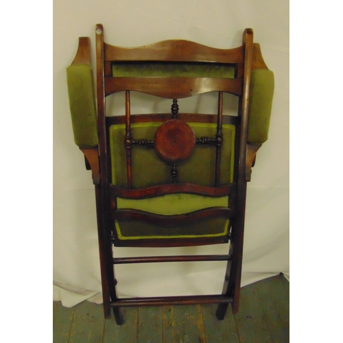 34 - A upholstered mahogany folding campaign chair, 93 x 57 x 63cm...