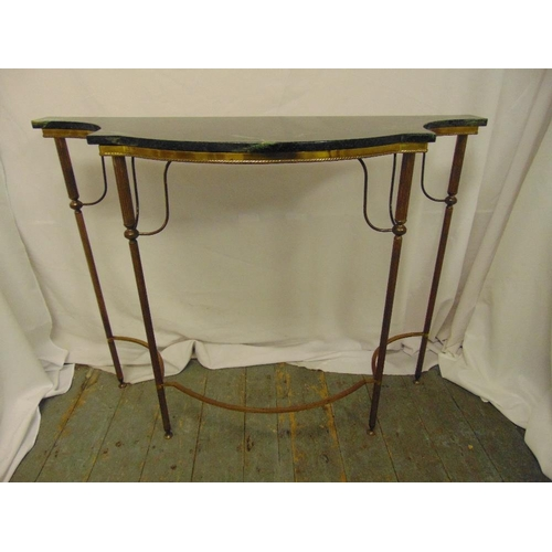 19 - A shaped rectangular gilded metal and marble consol table on four tapering cylindrical legs, 84.5 x ...