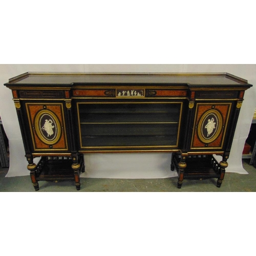 2 - A 19th century credenza of rectangular form, the ebonised body inset with Wedgewood plaques, galleri...