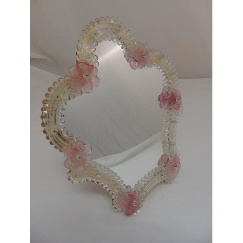 25 - A Murano glass dressing table mirror with applied pink flowers and hinged back strut, 36.5 x 30.5cm...