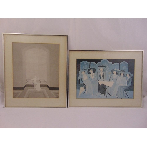 34 - Annie Retivat two framed and glazed polychromatic prints, 40 x 34cm...