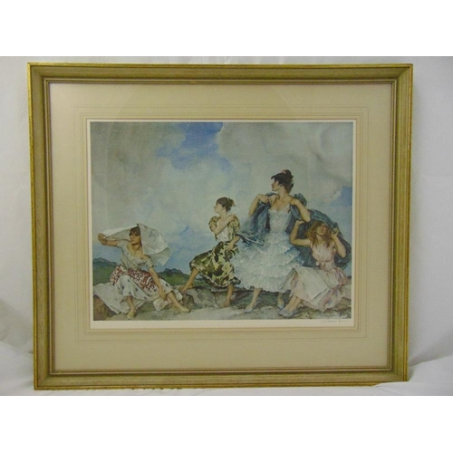 35 - William Russell Flint framed and glazed lithograph of The Shower, signed bottom right, blind stamped...