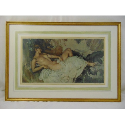 36 - William Russell Flint framed and glazed lithograph of a reclining nude, signed bottom right, blind s...