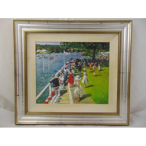 39 - Sheree Valentine Daines framed polychromatic limited edition 95/195 print of a day at Henley, label ...