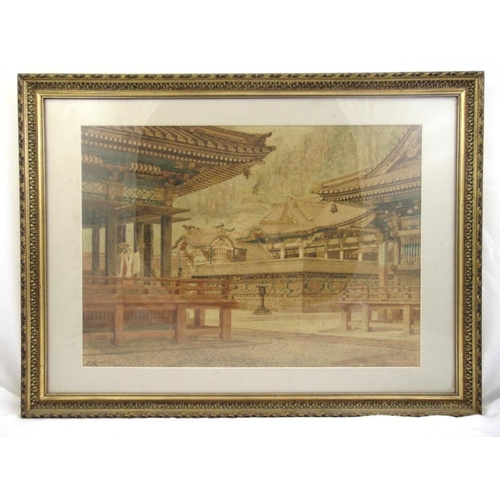 40 - Masana Kawakubo framed and glazed watercolour of temples and pagodas, signed bottom left, 46 x 64.5c...