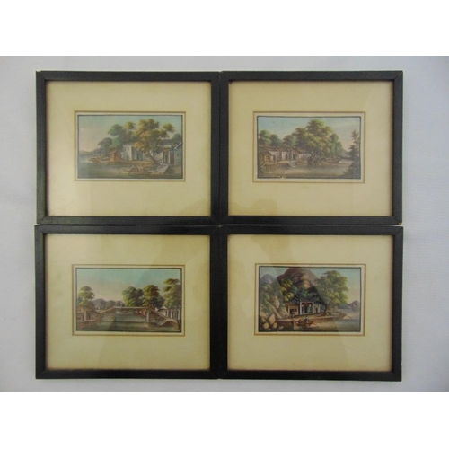 45 - Four framed and glazed 19th century Chinese School watercolours of river boat scenes on rice paper, ...