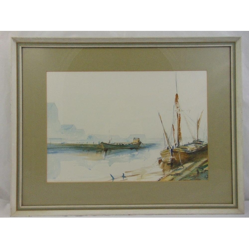 46 - John Farquharson framed and glazed watercolour of boats at harbour signed bottom left, 33 x 48cm...