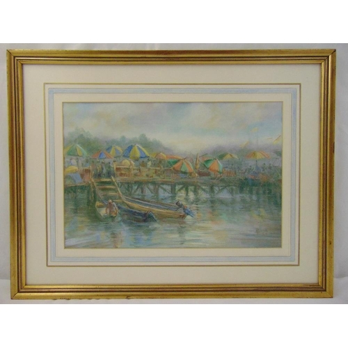 47 - E Pike a pair of framed and glazed watercolours of river scenes, signed bottom right 1984 and 1985, ...