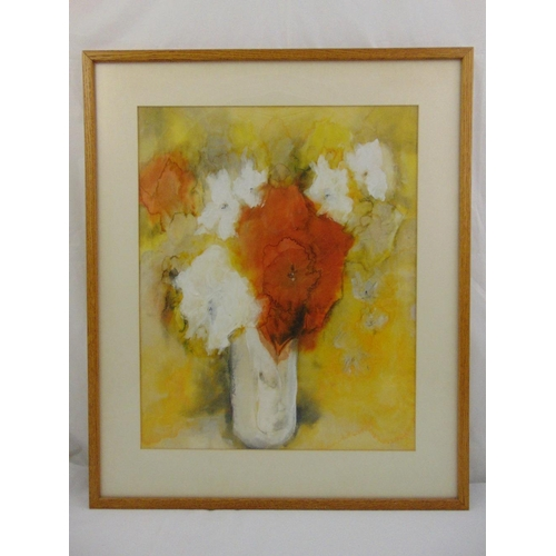 49 - A framed and glazed oil and watercolour on paper of a vase with flowers, signed and dated Stocker 85...