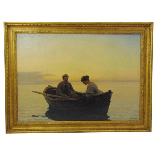 50 - Anton Dorph 1831-1914 framed oil on canvas titled On The lake, signed and dated 1902 bottom right, 7...