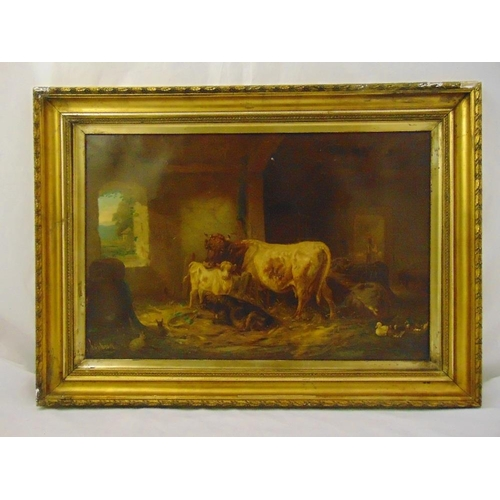 52 - Louis Reinhardt framed oil on canvas of cows, ducks and rabbits in barn, signed bottom left, damage ...