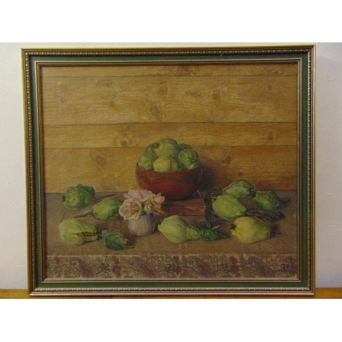 53 - J. Nieweg 1877-1955 framed oil on canvas still life of fruit and flowers, signed and dated 1941 midd...
