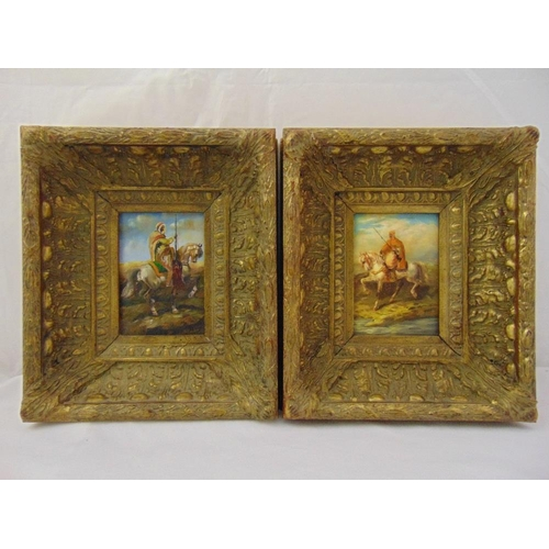 54 - A pair of framed oils on board of Middle Eastern men on horseback indistinctly signed, 17.5 x 12.5cm...