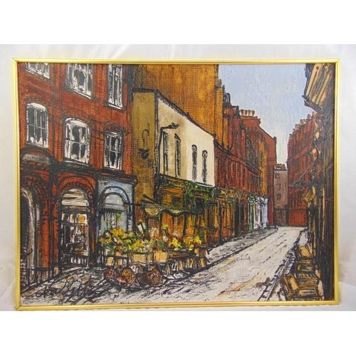 56 - Noel Gibson framed oil on panel street scene of East London, signed bottom left, 81 x 107cm ARR appl...