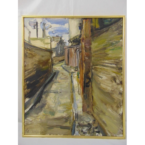 58 - Kupfermann framed oil on canvas of a alley way, signed and dated bottom left 1964, 76 x 63.5cm ARR a...