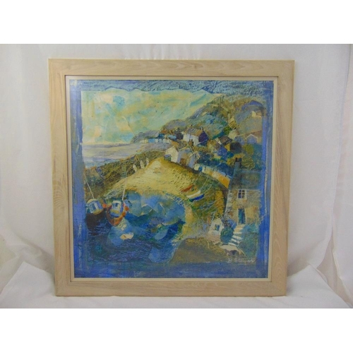 59 - Barbara Stewart framed and glazed mixed media painting of Mousehole Harbour, signed bottom right, ga...