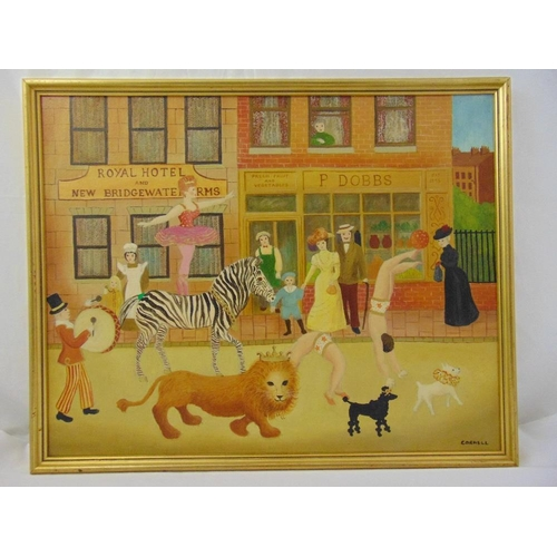 60 - Pamela Cornell framed oil on canvas of a street carnival, signed bottom right, 61 x 76.5cm ARR appli...