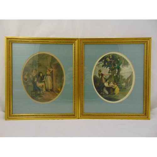 38 - A set of four framed and glazed Bartolozzi figural prints with silk mounts, 30 x 25cm each...