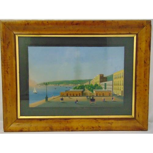 48 - A pair of framed glazed Neapolitan gouache paintings circa 1830 Napoli da Posillipo and Villa Reale ...