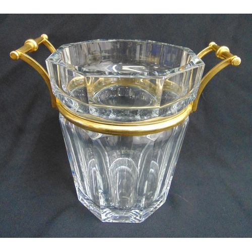 219 - Baccarat Harcourt glass champagne cooler with gilded metal mounts and side handles, signed to the ba...