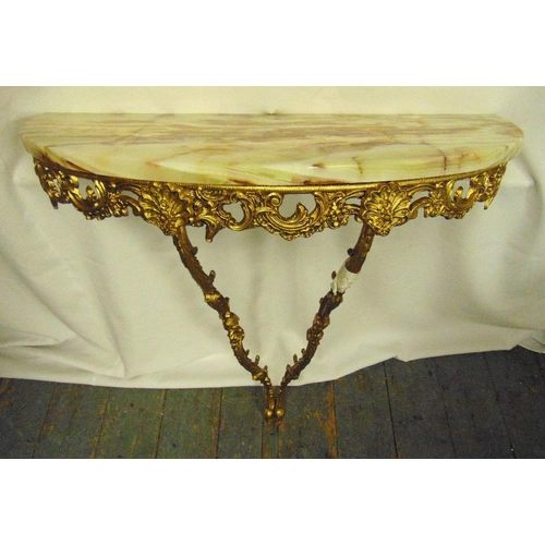 27 - A gilded metal wall mounted consol table with onyx top, 79cm (h)...