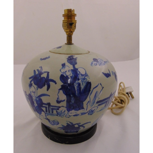 44 - A Chinese blue and white vase form table lamp decorated with figures in a landscape, 26cm (h)...