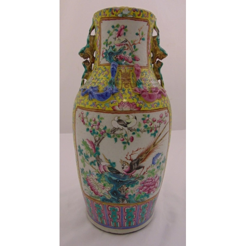 46 - A Cantonese famile rose lamp base of circular form decorated with birds and blossoms, A/F, 43.5cm (h...