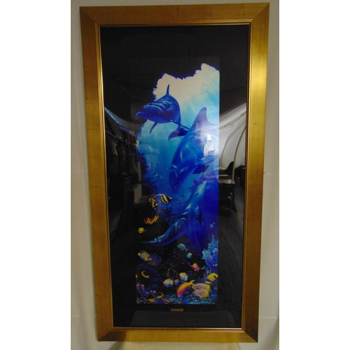 47 - Christian Lassen framed and glazed polychromatic limited edition print 17/500 of a dolphin sanctuary...