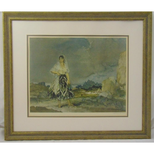48 - William Russell Flint framed and glazed lithographic print of a lady in a field, signed bottom right...