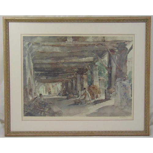 49 - William Russell Flint framed and glazed lithographic print of figures in a courtyard, signed bottom ...