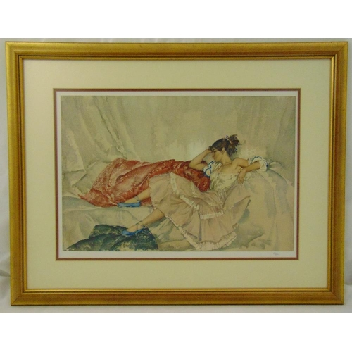 50 - William Russell Flint framed and glazed lithographic print of a lady relaxing on a couch numbered 24...