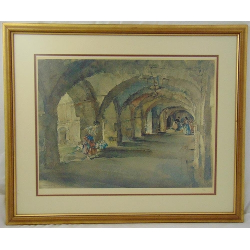 52 - William Russell Flint framed and glazed lithographic print of ladies in a cavern numbered 552/850, 4...